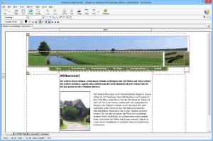 Eine Beispielseite in einem graphischen WYSIWYG-Editor