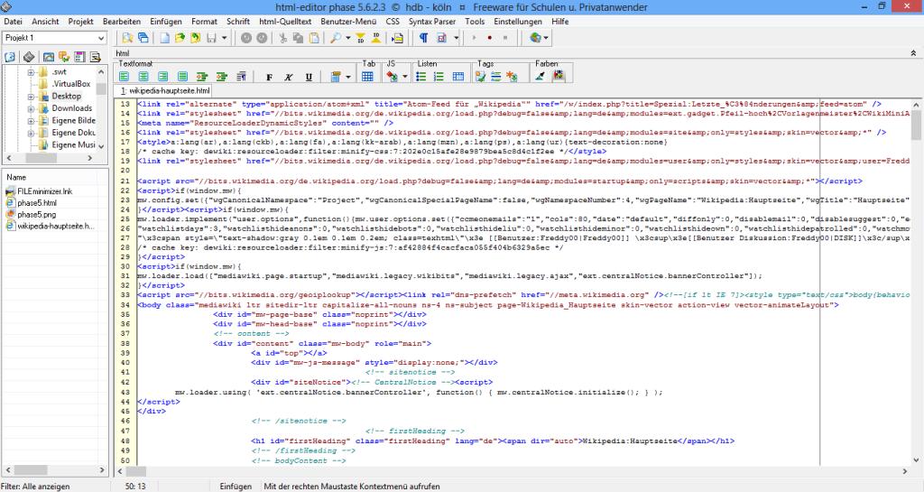 Der HTML-Editor Phase 5