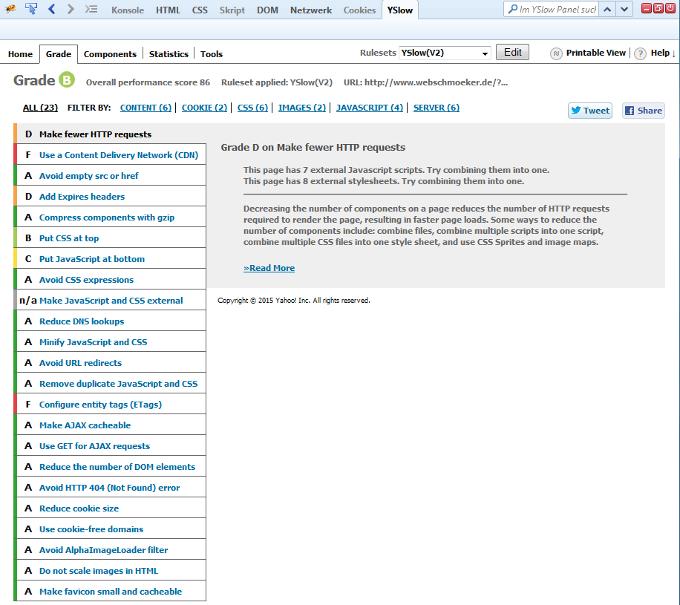 Website Geschwindig mit YSlow messen