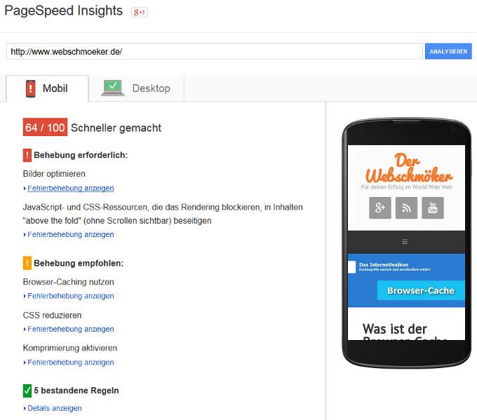 Website Geschwindigkeit mit PageSpeed messen