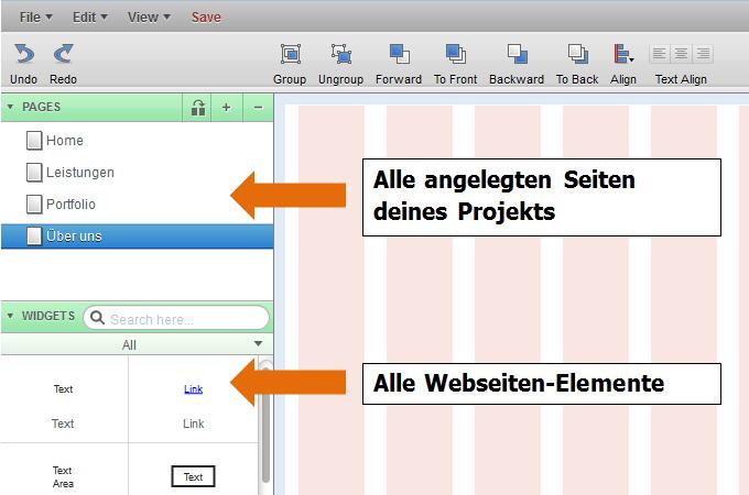 Mockingbird: Seiten hinzufügen und die Übersicht der Website-Elemente