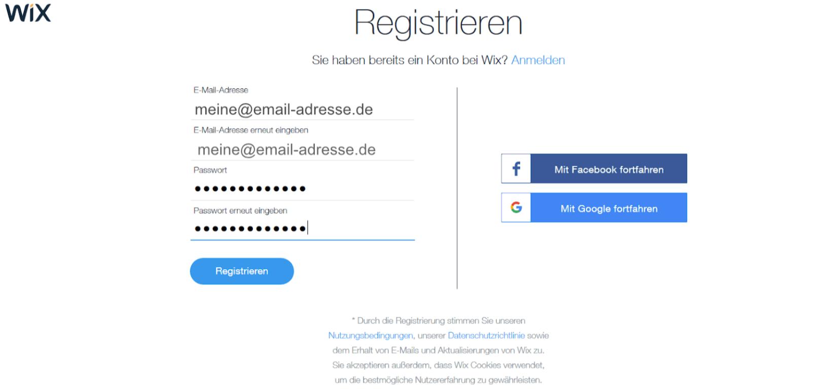 Kostenlose Website erstellen mit Wix - Anleitung Schritt 1
