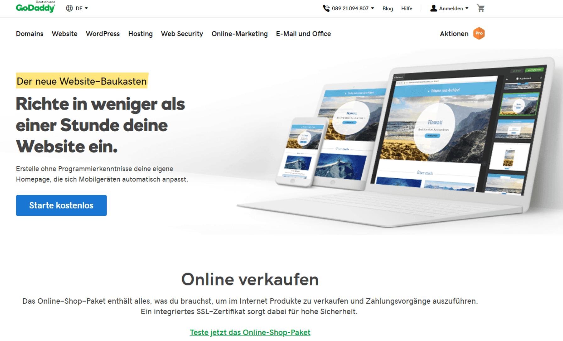 Kostenlose Website erstellen mit GoDaddy - Anleitung Schritt 1