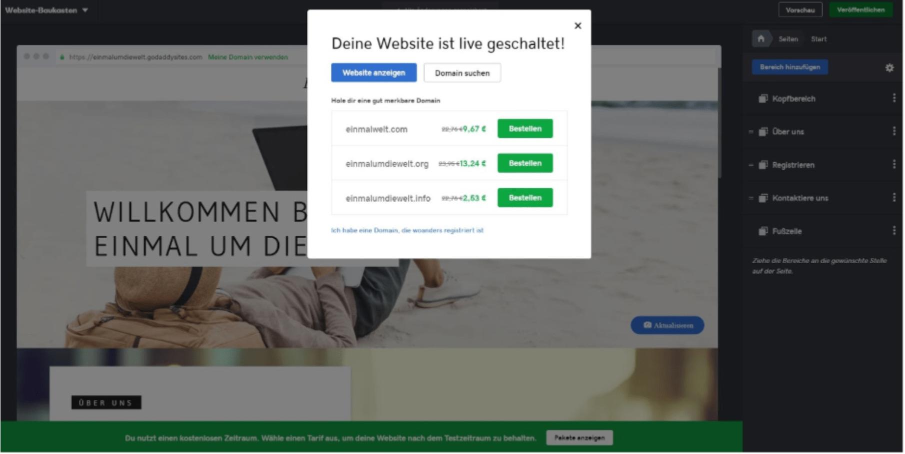 Kostenlose Website erstellen mit GoDaddy - Anleitung Schritt 8