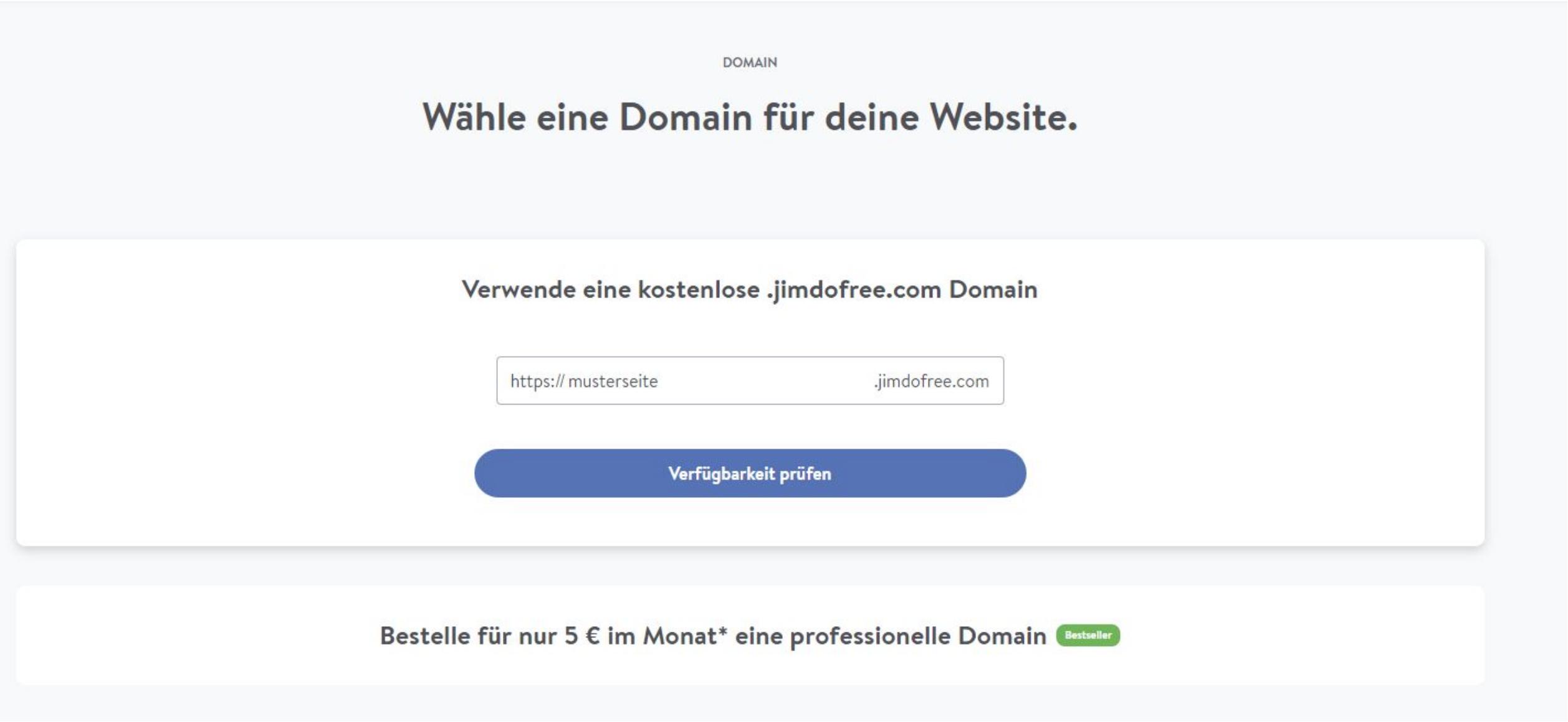 Kostenlose Homepage: Domainwahl