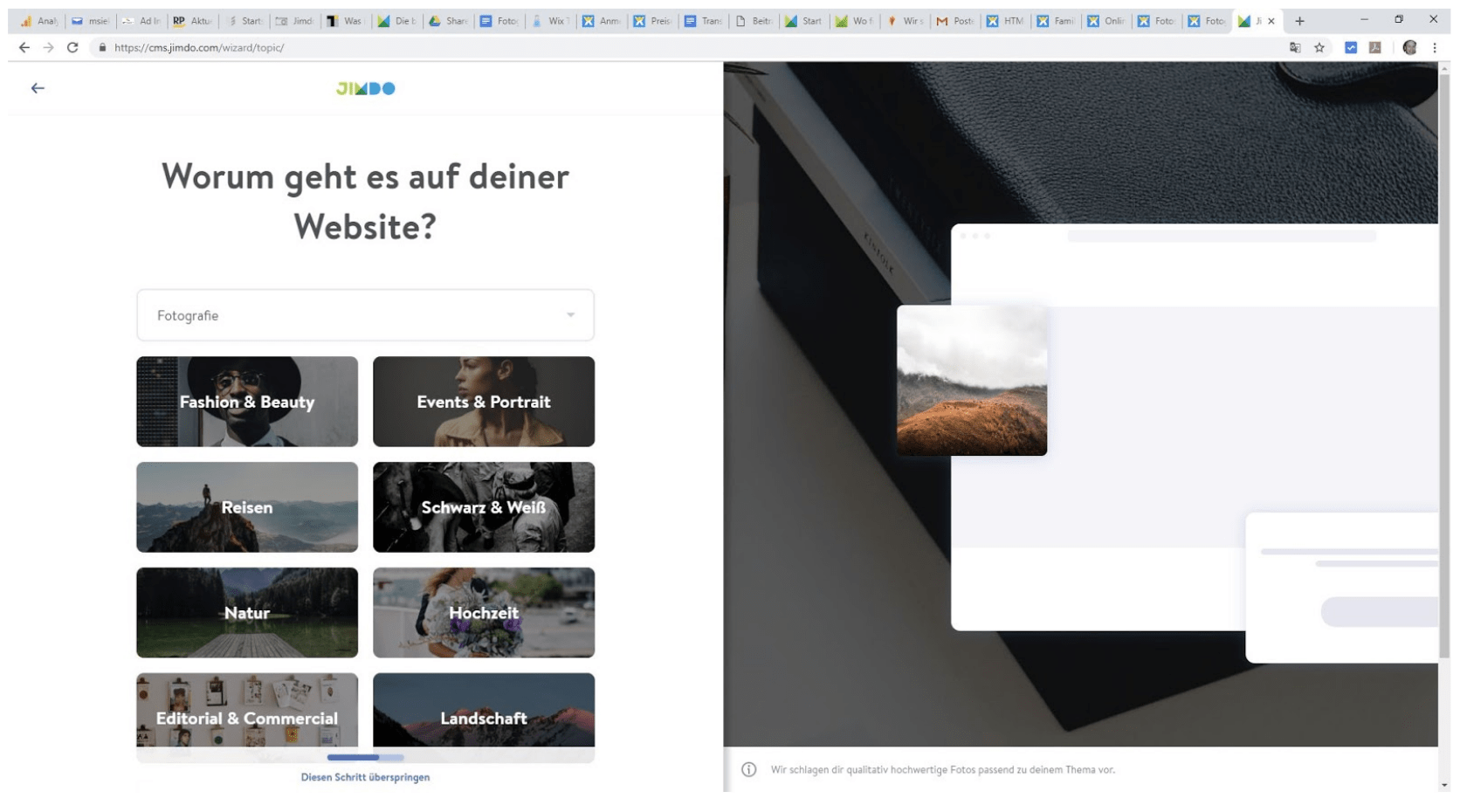Fotografie Website erstellen mit Jimdo - Anleitung Schritt 1