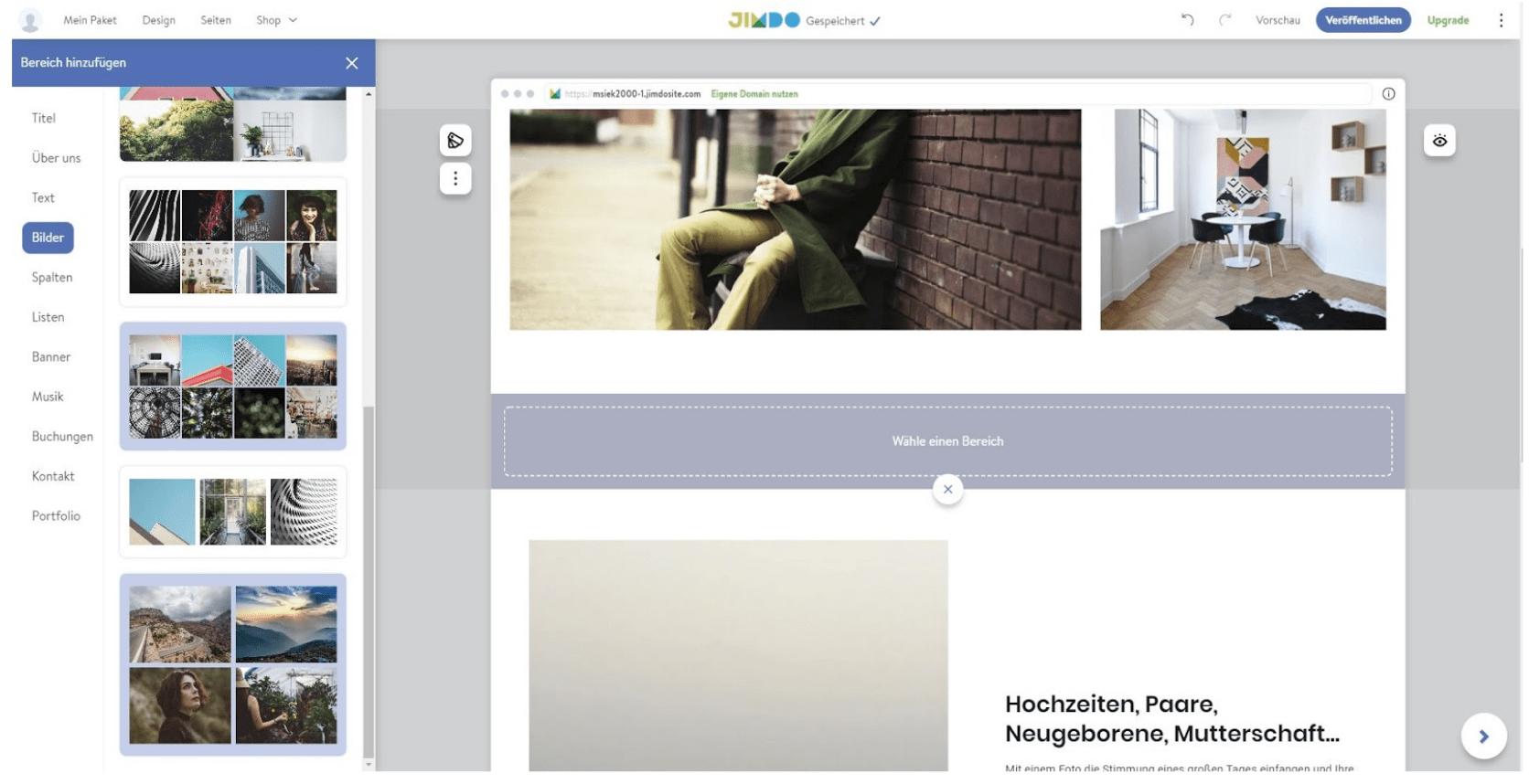 Fotografie Website erstellen mit Jimdo - Anleitung Schritt 2