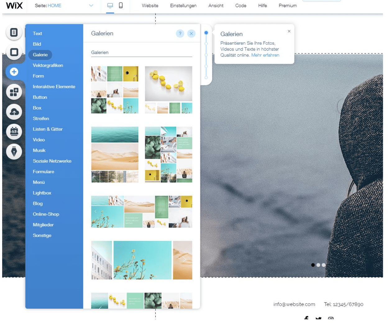Fotografie Website erstellen mit Wix - Anleitung Schritt 2