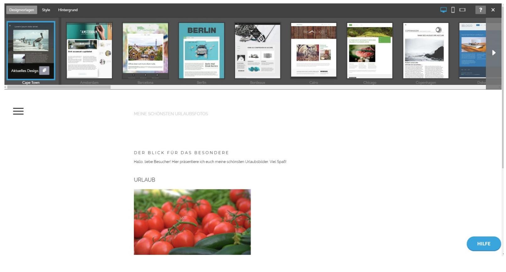 Homepage Baukasten von Jimdo - Designvorlagen