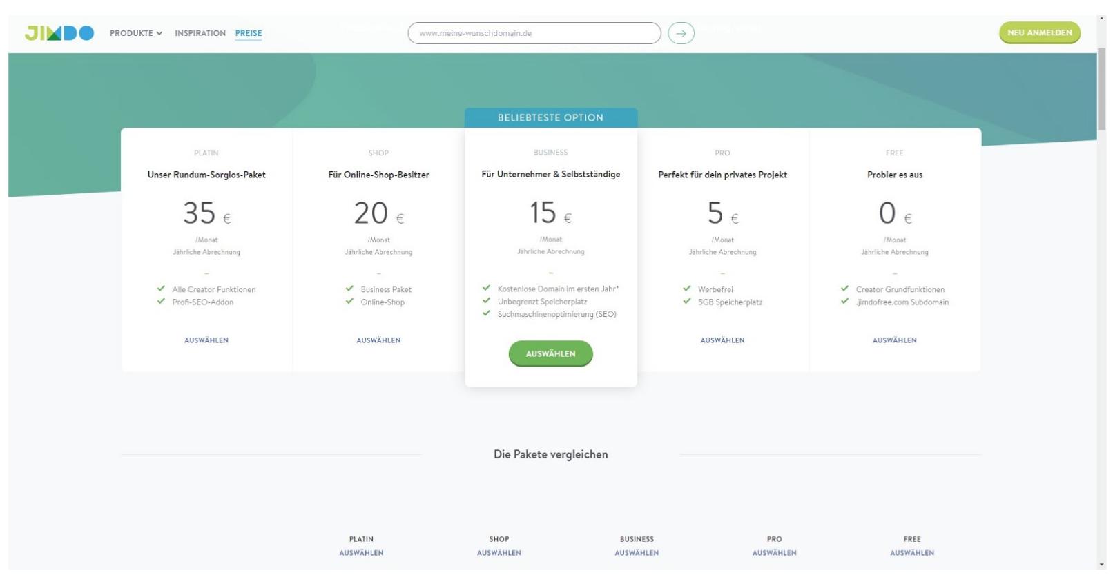 Homepage Baukasten von Jimdo - Preise