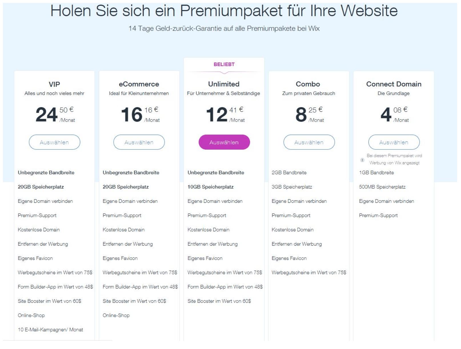 Homepage Baukasten von Wix - Preise