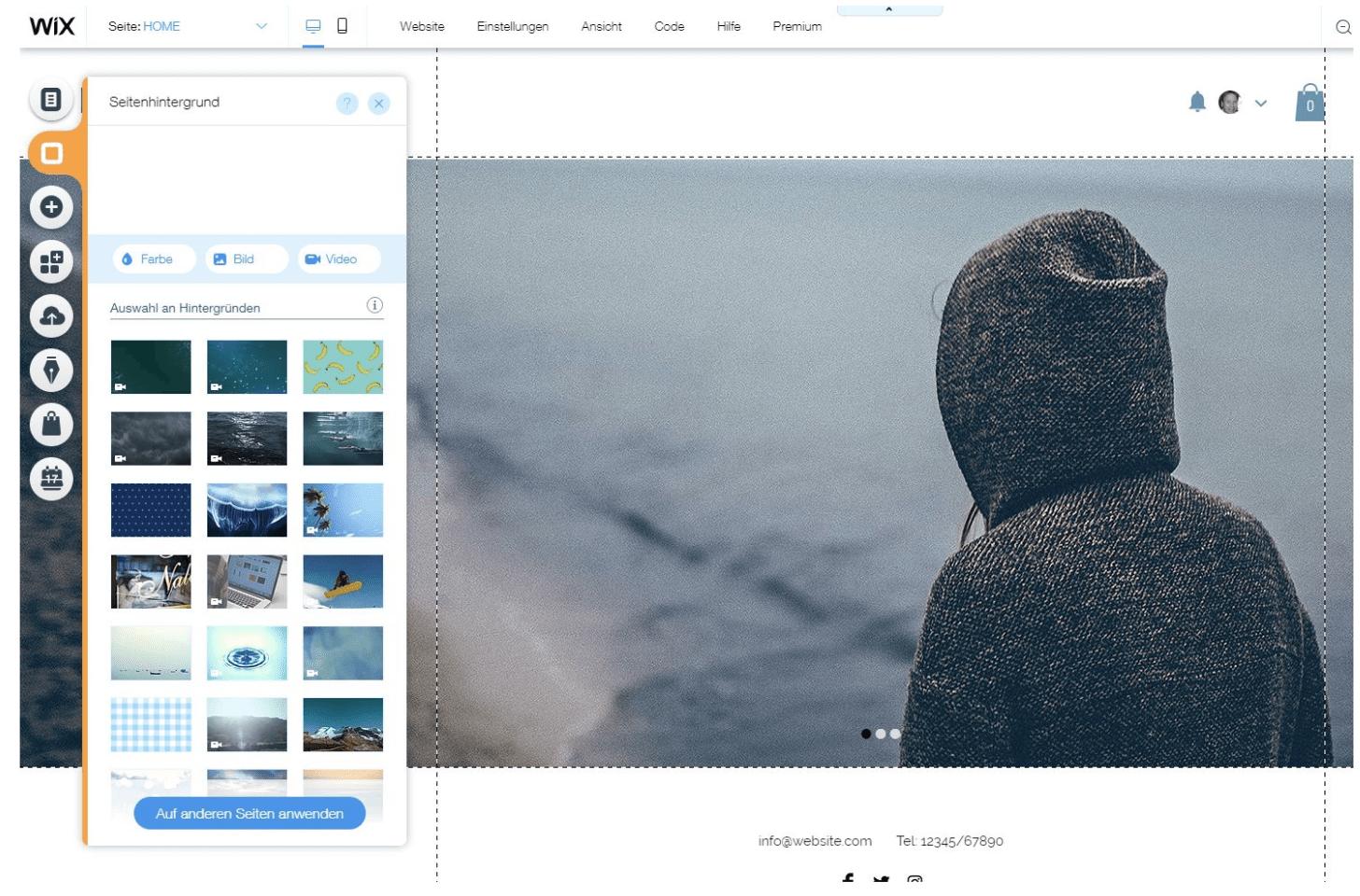 Homepage Baukasten von Wix - Designvorlagen