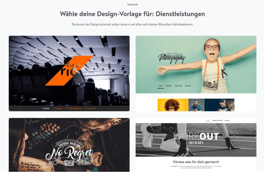 Firmenhomepage erstellen mit Jimdo Schritt 2: Design wählen