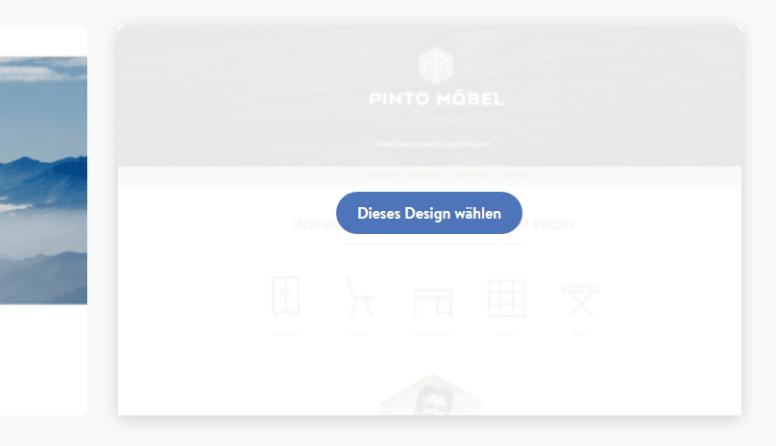 Firmenhomepage erstellen mit Jimdo Schritt 2: Designauswahl bestätigen