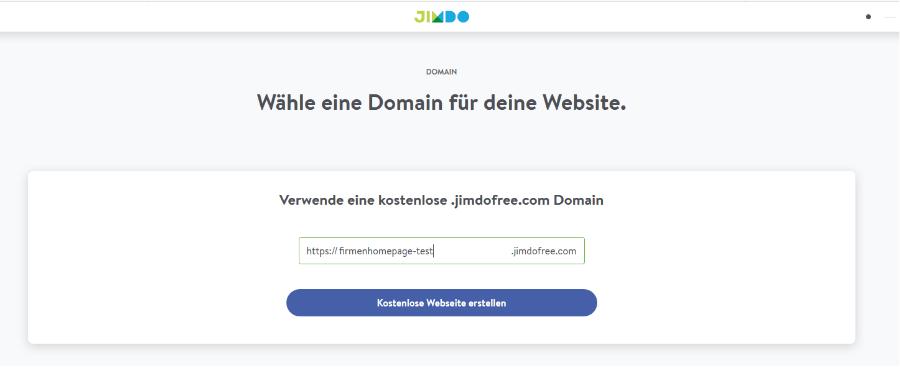 Firmenhomepage erstellen mit Jimdo Schritt 2: Freie Domain bestätigen
