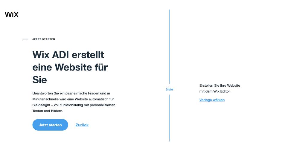 Firmenhomepage erstellen mit Wix Schritt 2: Editor wählen