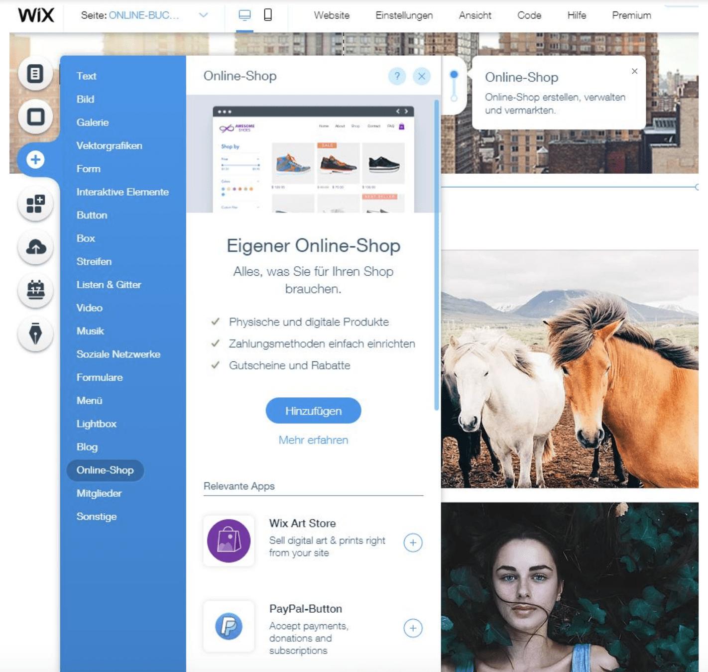 Fotografie Website erstellen mit Wix Schritt 7: Shop integrieren