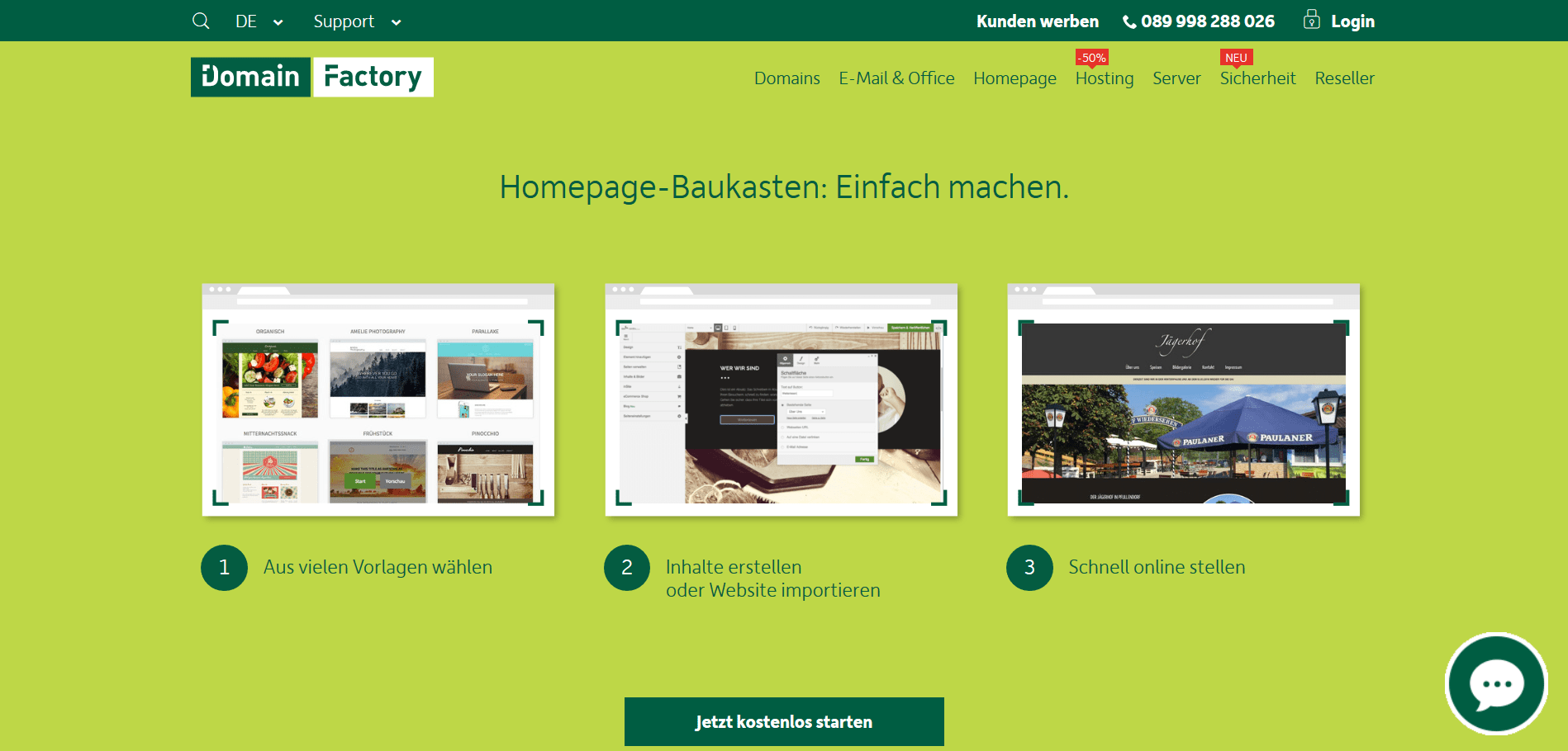 Homepage Baukasten Test: Domain Factory