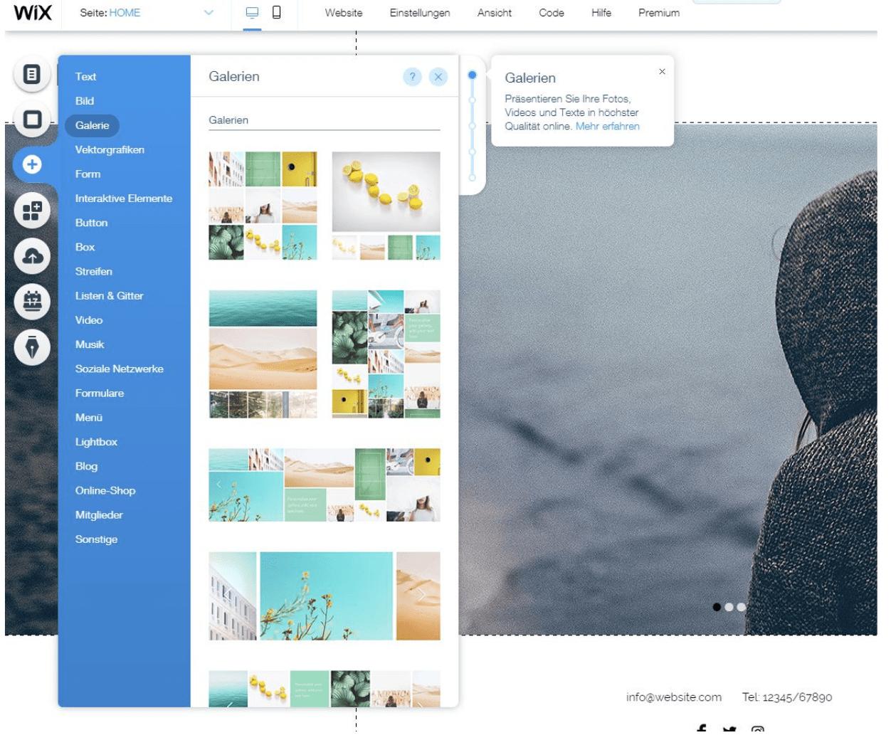 Fotografie Website erstellen mit Wix Schritt 5: Galerien hinzufügen