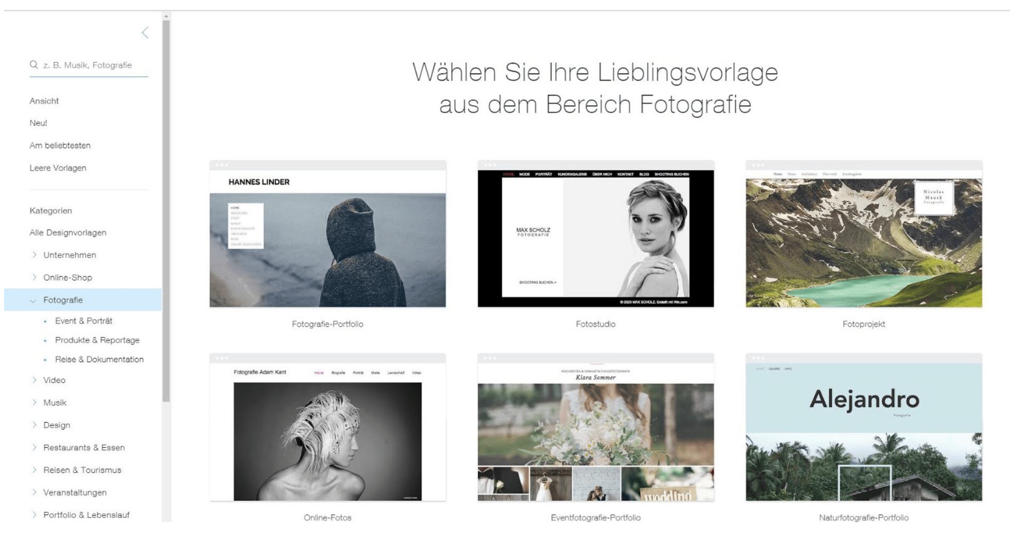 Fotografie Website erstellen mit Wix Schritt 4: Vorlage auswählen