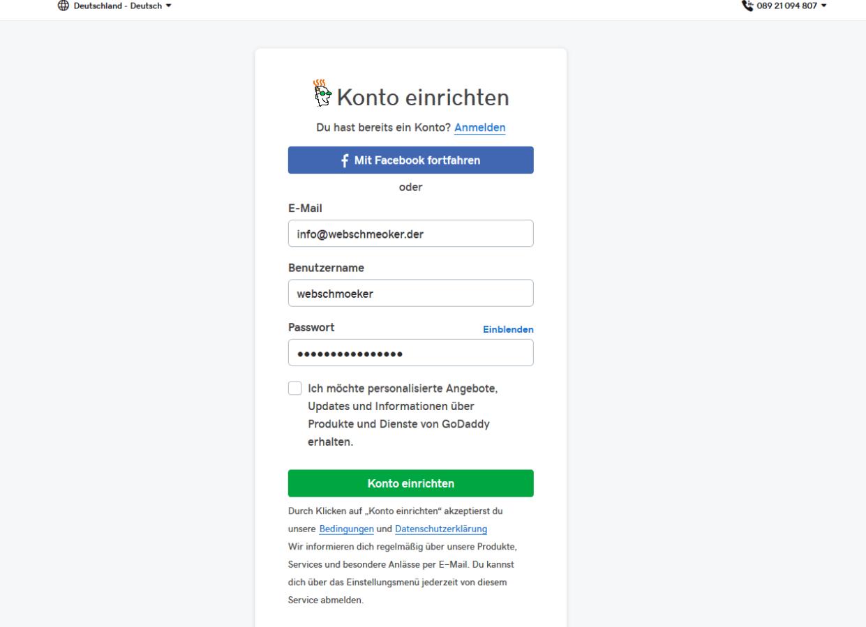 Fotografie Website erstellen mit GoDaddy Schritt 2: Registrieren