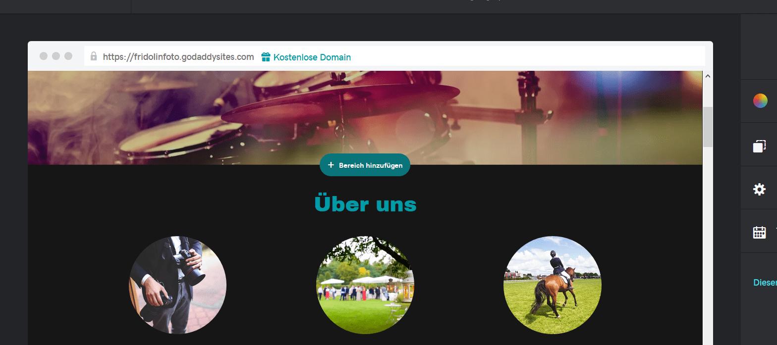 Fotografie Website erstellen mit GoDaddy Schritt 5.1: Neue Inhalte