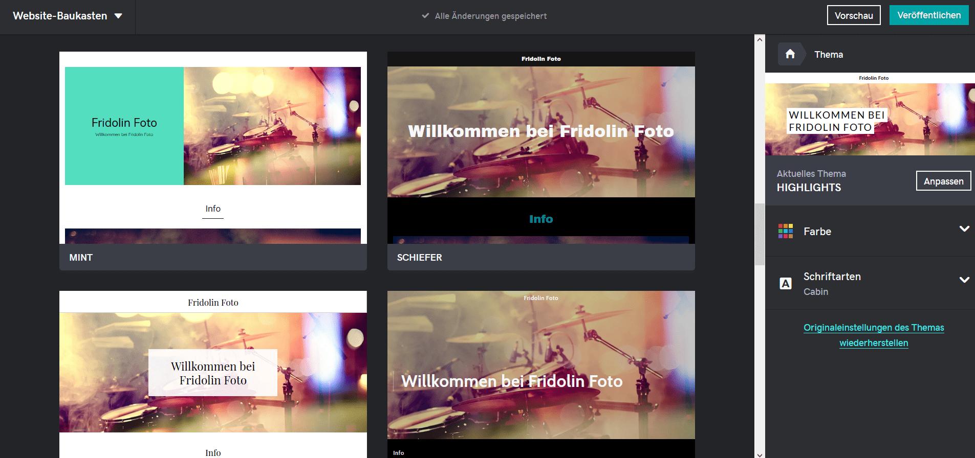Fotografie Website erstellen mit GoDaddy Schritt 4: Design anpassen