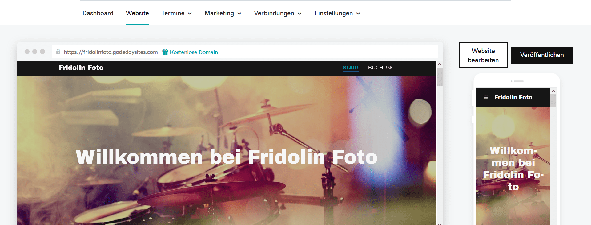 Fotografie Website erstellen mit GoDaddy Schritt 7.2: Mobile Vorschau
