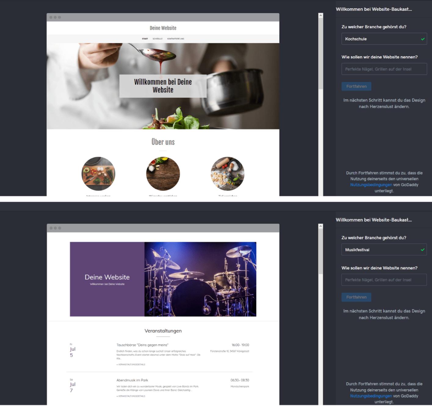 Professionelle Website erstellen mit GoDaddy - Anleitung Schritt 2
