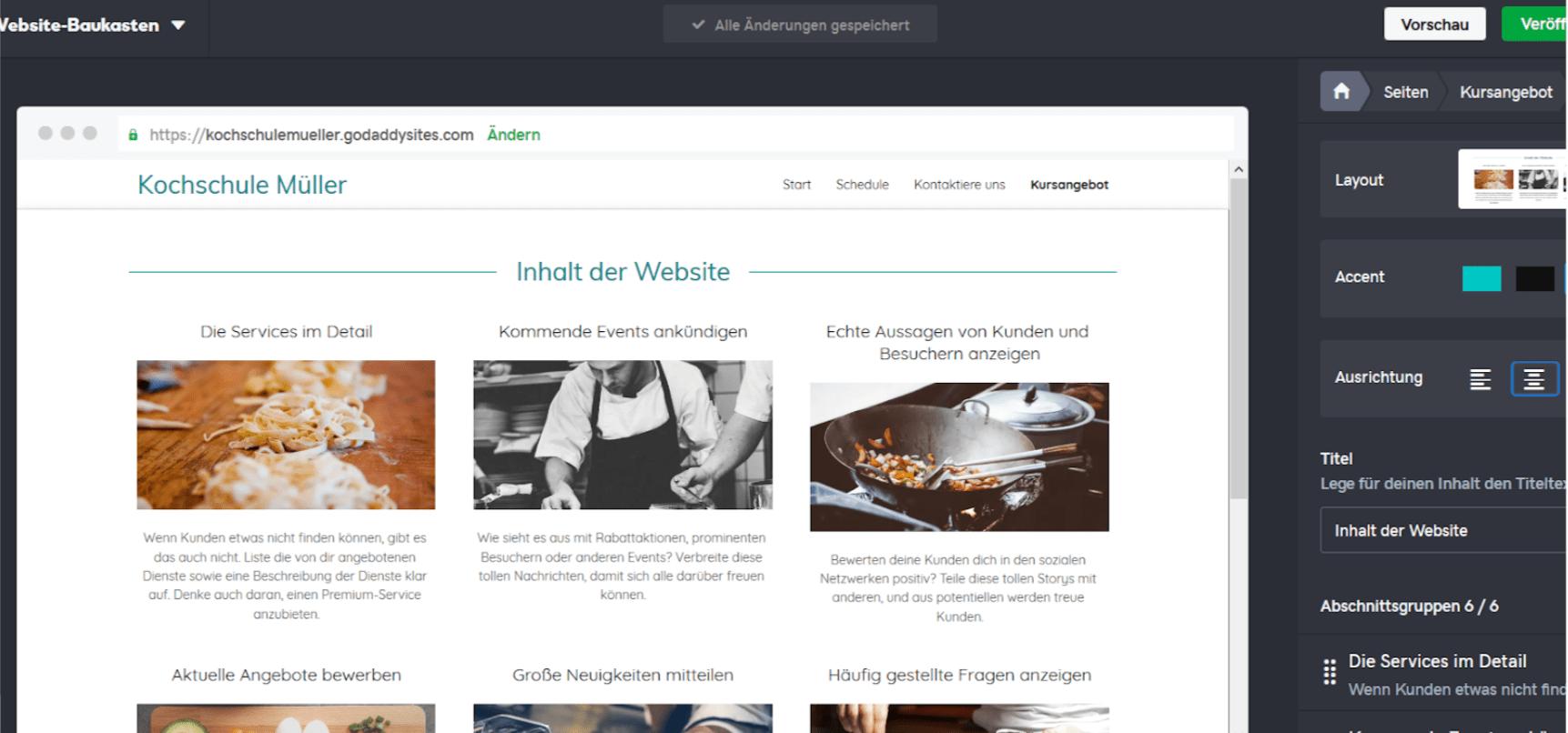 Professionelle Website erstellen mit GoDaddy - Anleitung Schritt 13