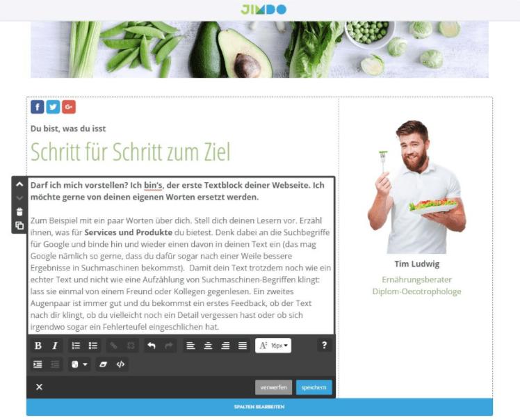 Professionelle Website erstellen mit Jimdo - Anleitung Schritt 4