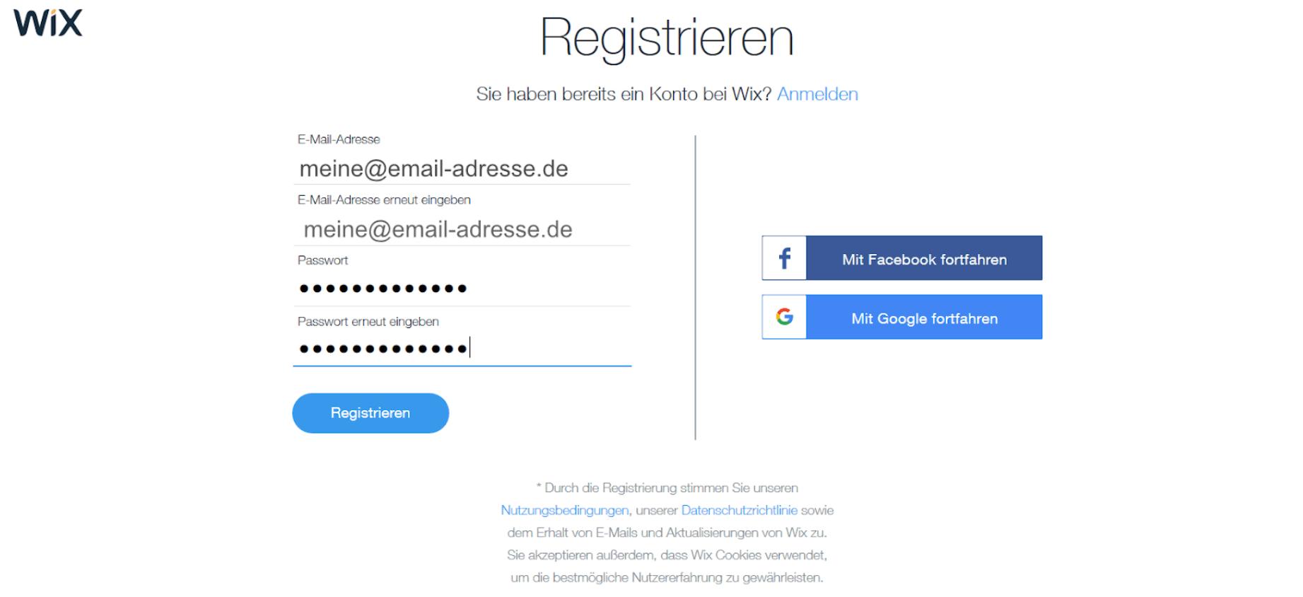 Professionelle Website erstellen mit Wix - Anleitung Schritt 2