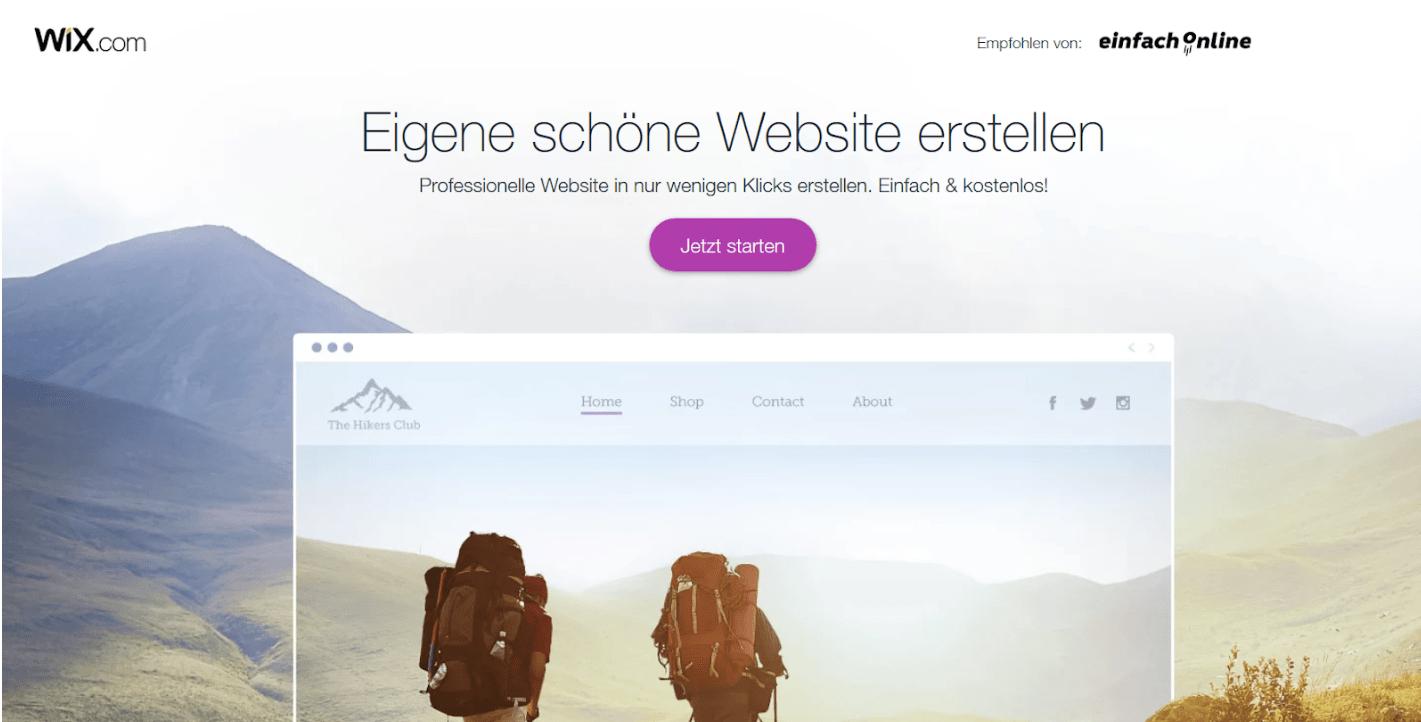 Professionelle Website erstellen mit Wix - Anleitung Schritt 1