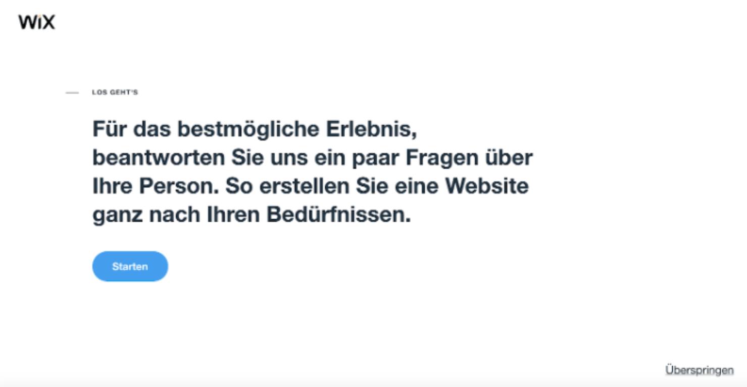 Website programmieren mit Wix - Anleitung Schritt 1
