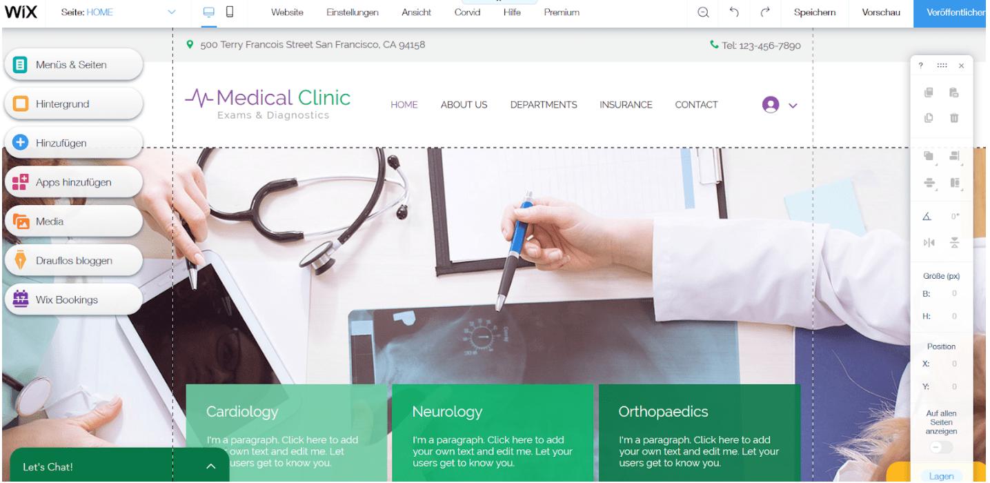 Website für Ärzte erstellen mit Wix - Anleitung Schritt 8