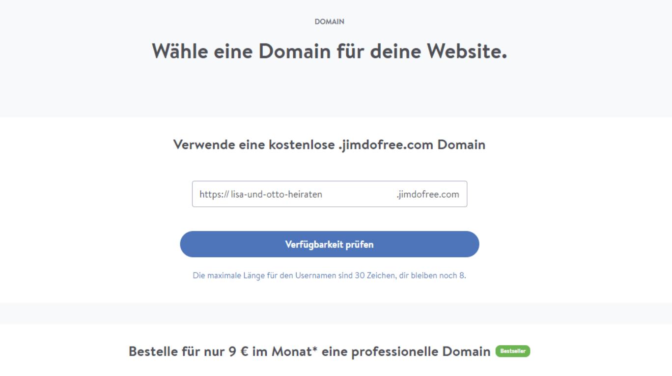 Hochzeitshomepage erstellen mit Jimdo Schritt 3: Domain auswählen