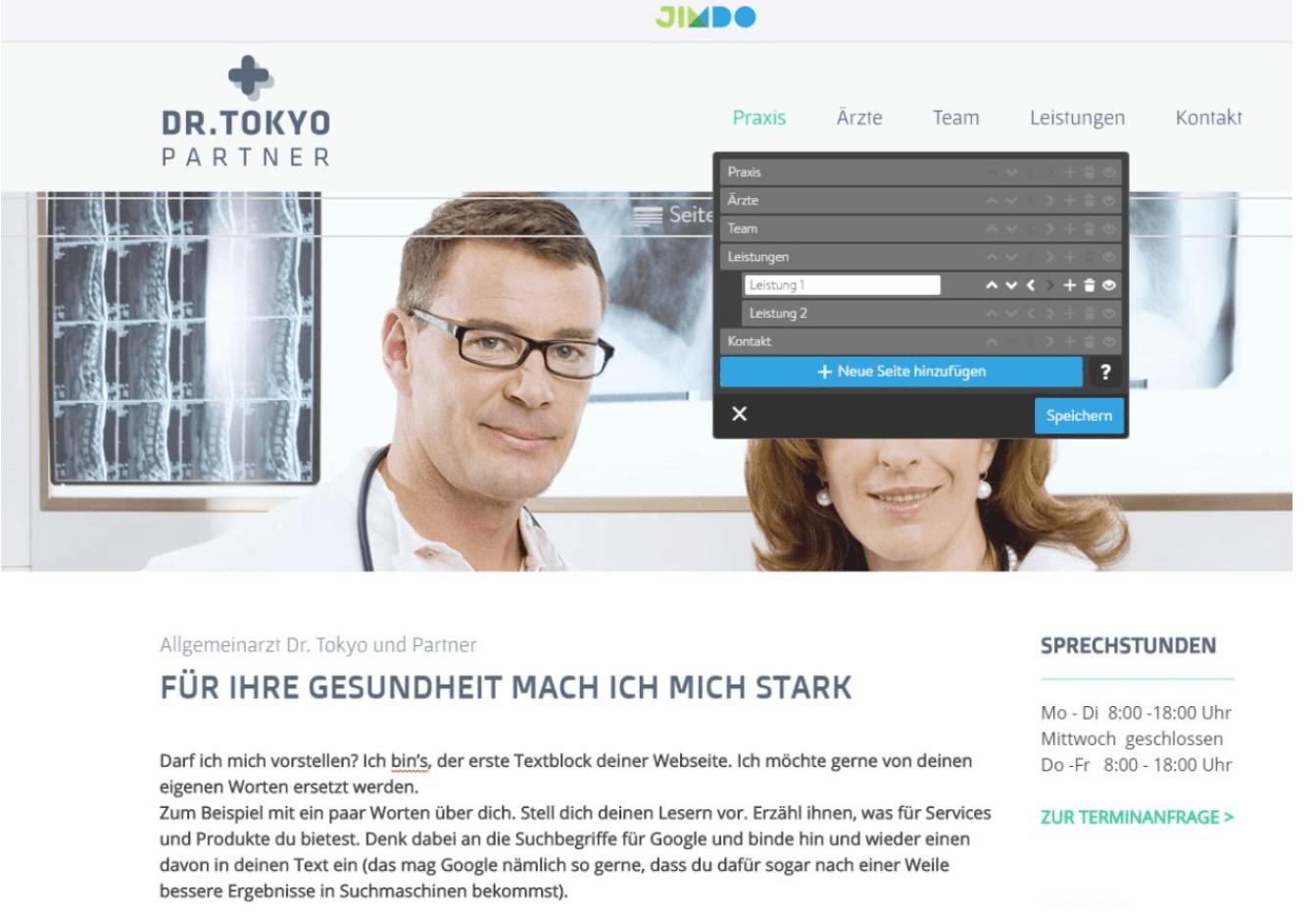 Website für Ärzte erstellen mit Jimdo - Anleitung Schritt 8