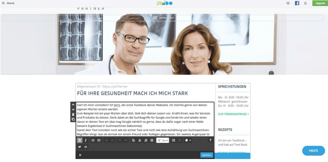 Website für Ärzte erstellen mit Jimdo - Anleitung Schritt 9