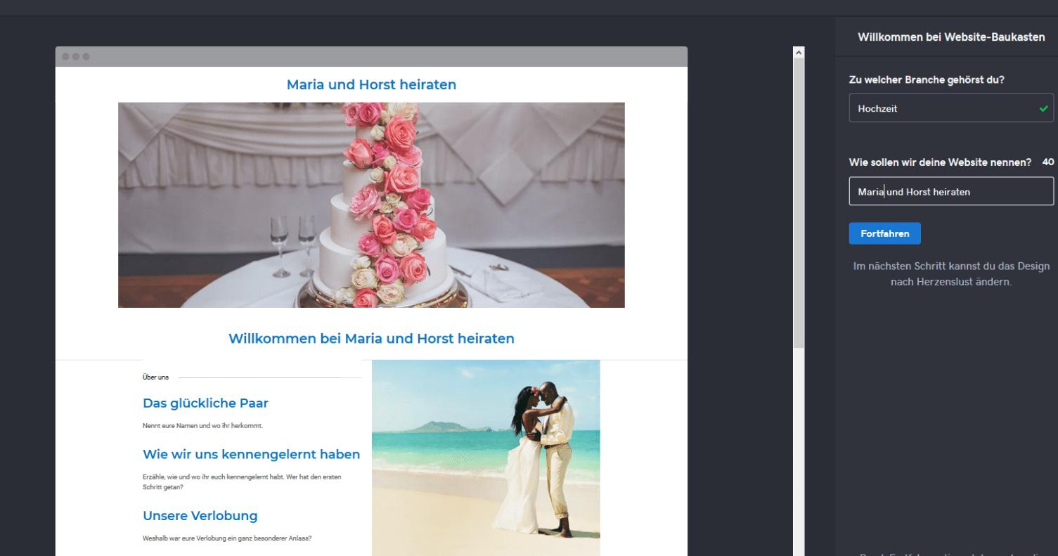 Hochzeitshomepage erstellen mit GoDaddy Schritt 2