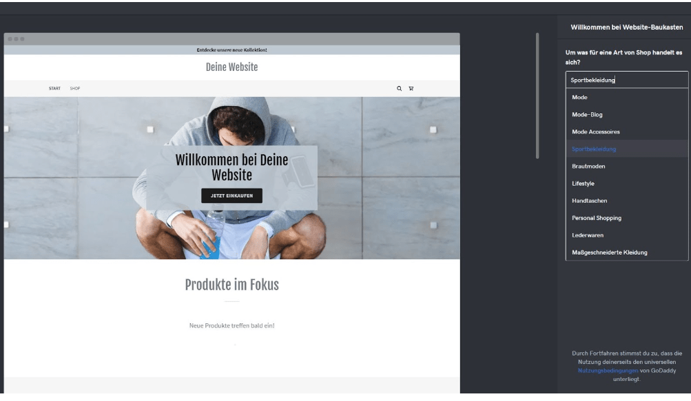 Eigenen Online-Shop erstellen mit GoDaddy - Anleitung Schritt 3