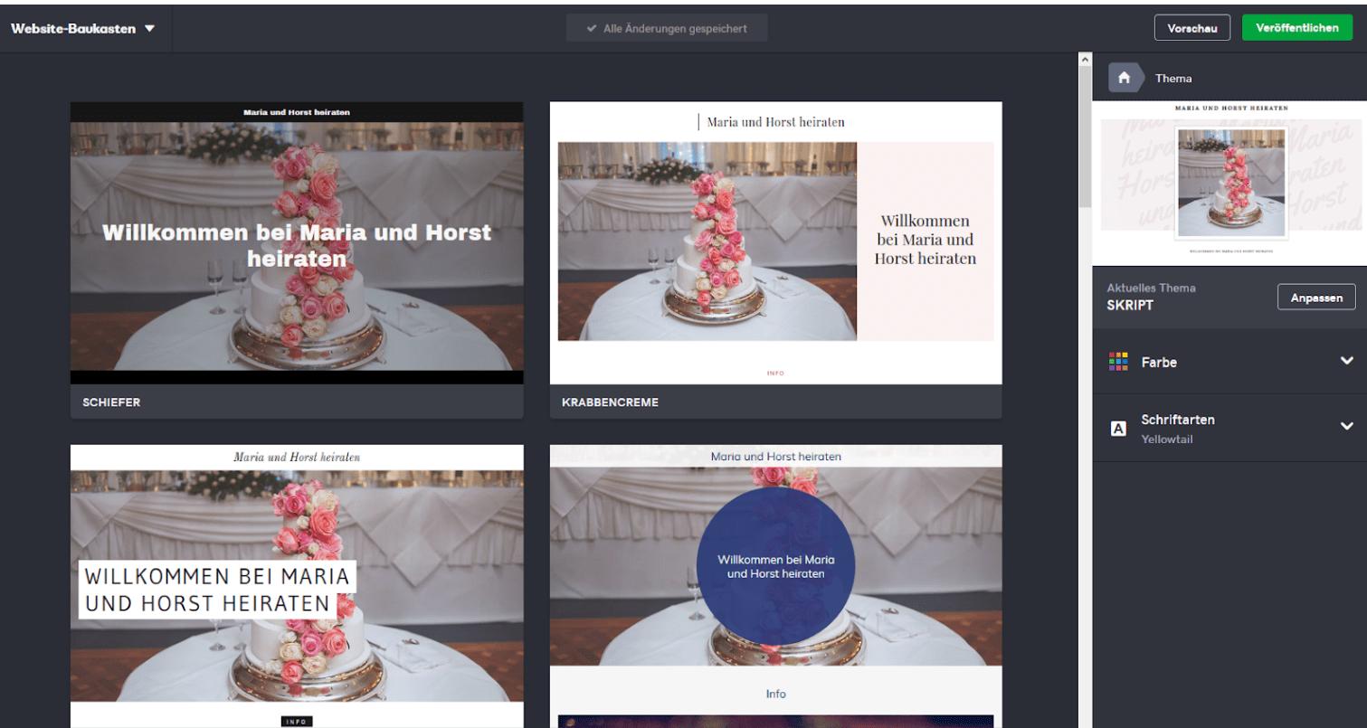 Hochzeitshomepage erstellen mit GoDaddy - Anleitung Schritt 3