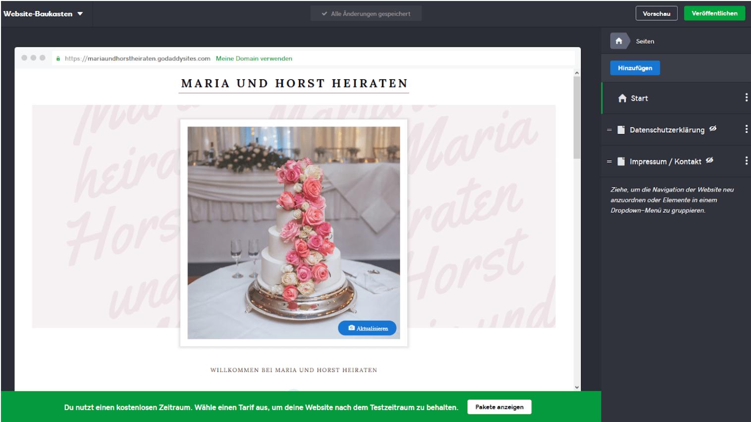 Hochzeitshomepage erstellen mit GoDaddy - Anleitung Schritt 4