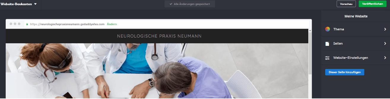 Website für Ärzte erstellen mit GoDaddy - Anleitung Schritt 5