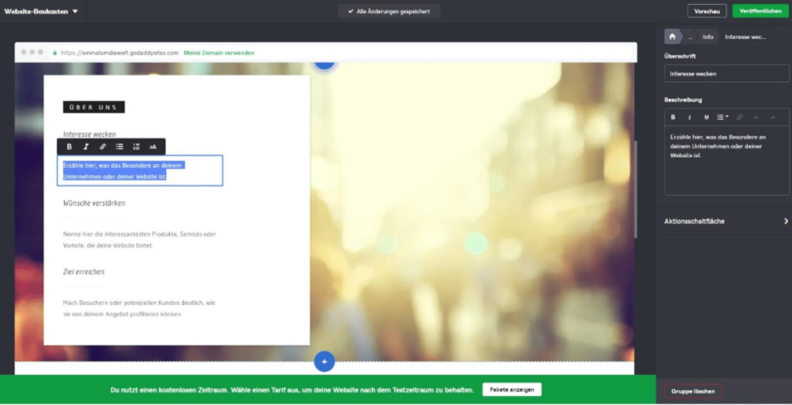 Website programmieren mit GoDaddy - Anleitung Schritt 6
