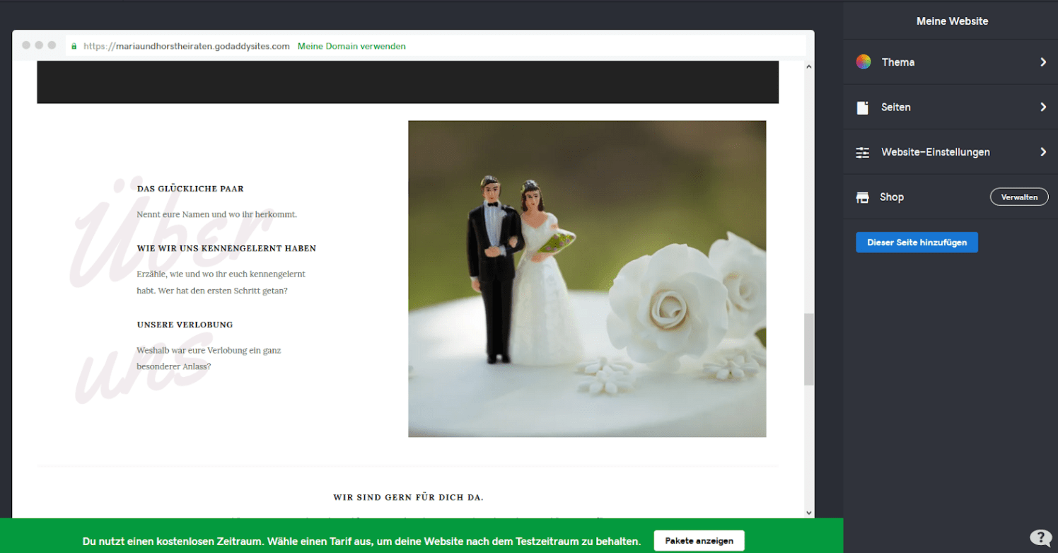 Hochzeitshomepage erstellen mit GoDaddy - Anleitung Schritt 7