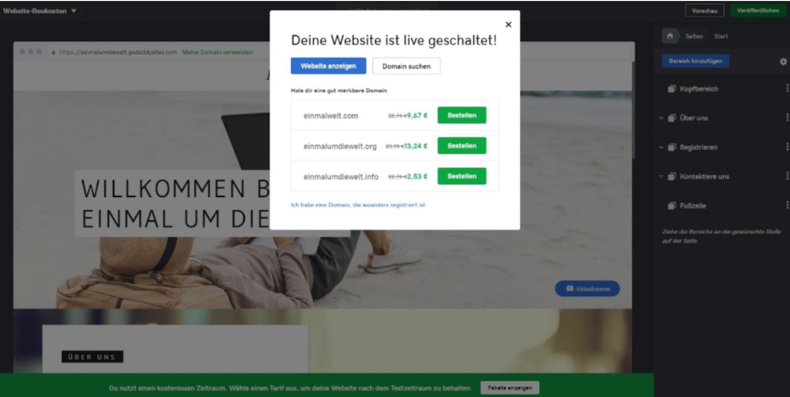 Website programmieren mit GoDaddy - Anleitung Schritt 8