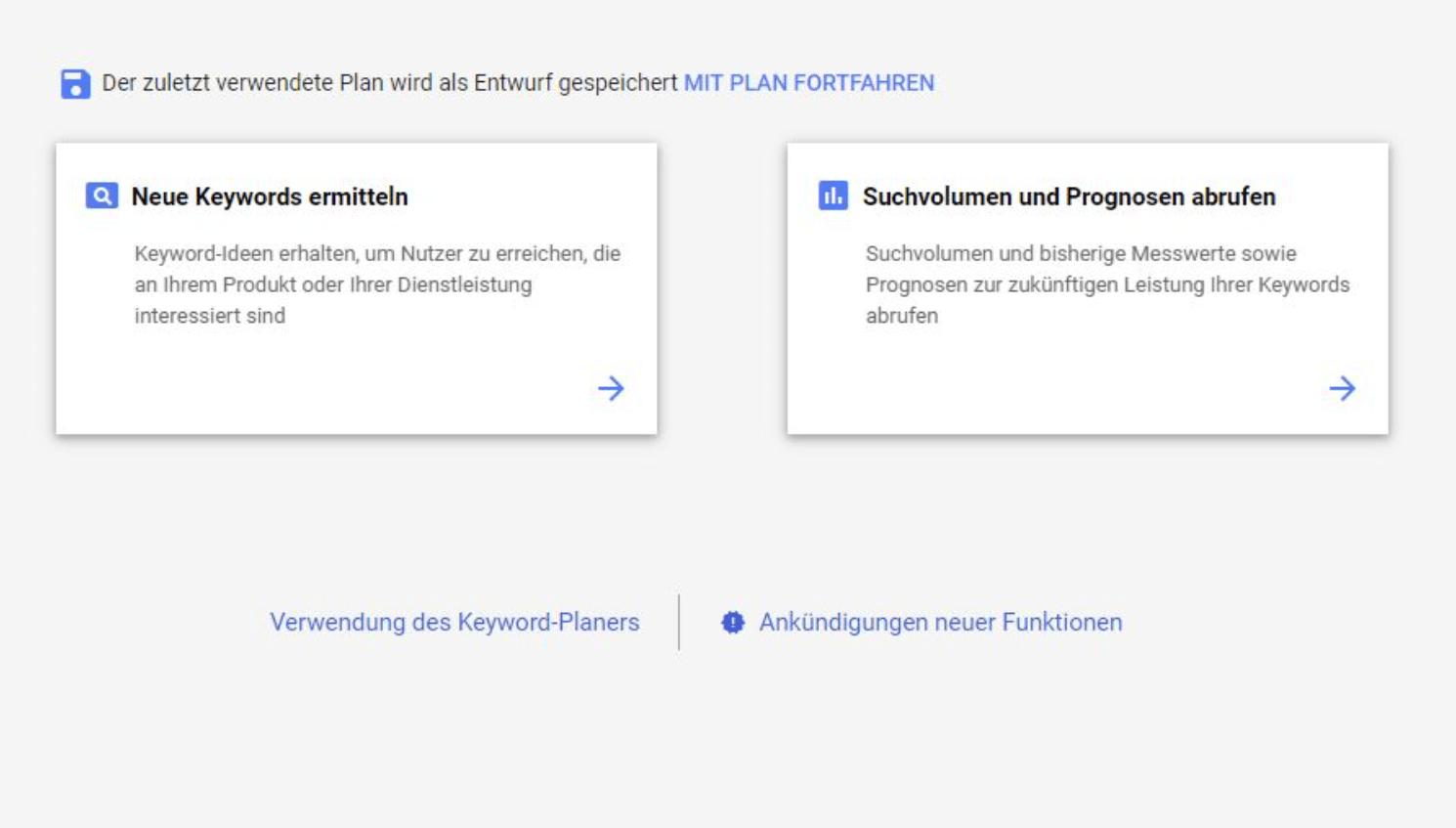 Google Keyword Planner - Anleitung Schritt 1