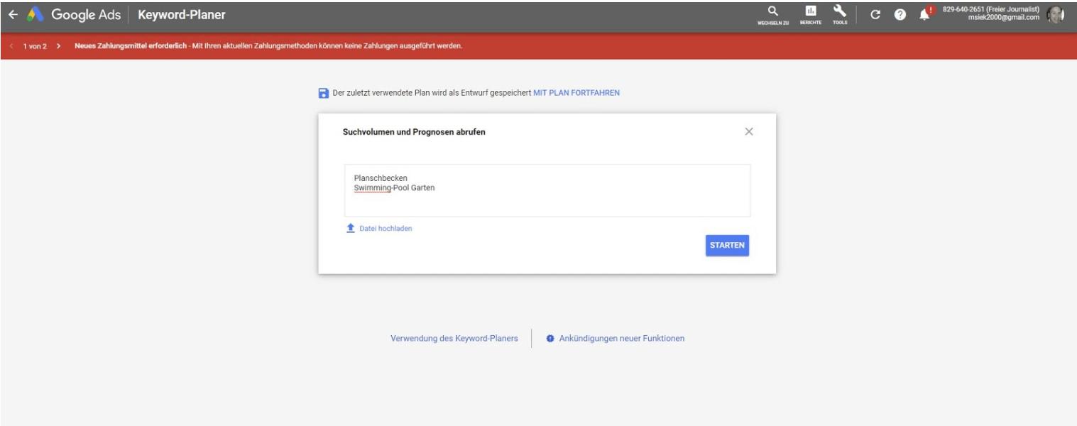 Google Keyword Planner - Anleitung Schritt 2