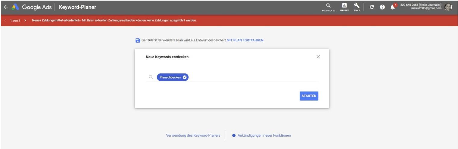 Google Keyword Planner - Anleitung Schritt 4