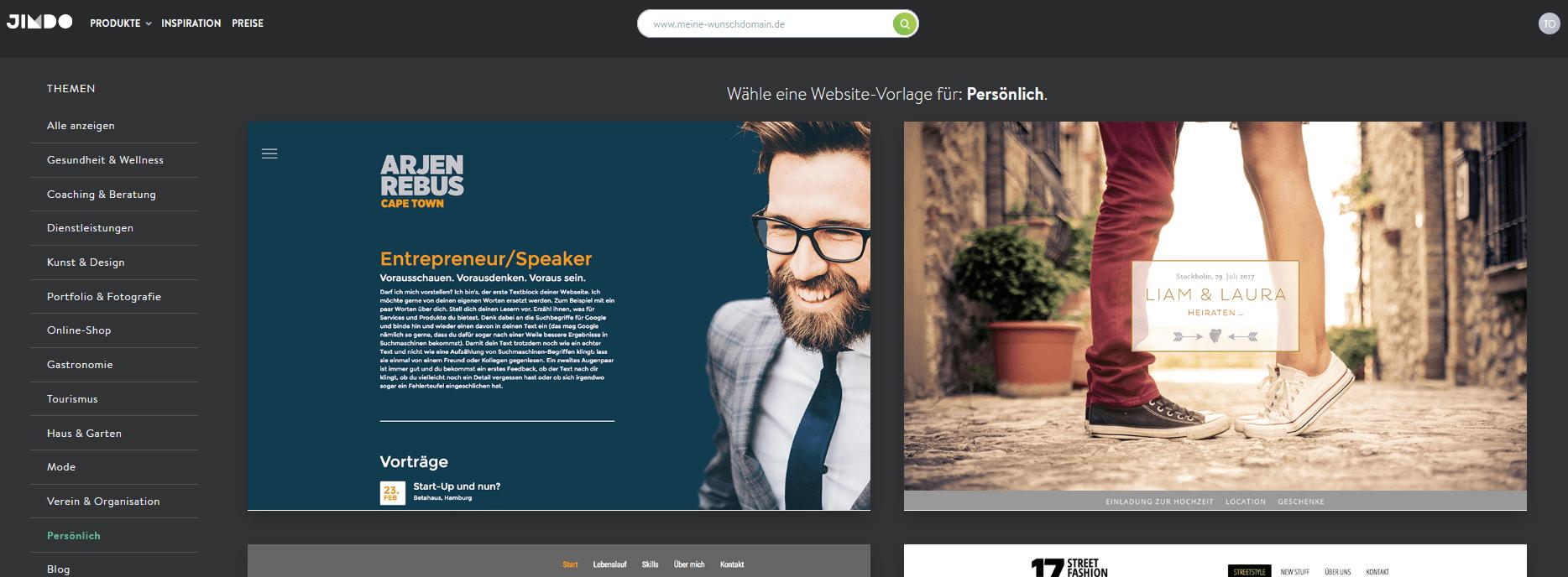 Hochzeitswebsite erstellen mit Jimdo Schritt 2.2